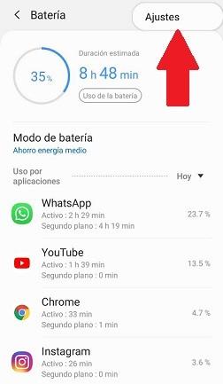 Ajustes batería de Android