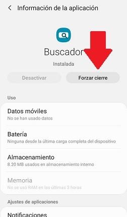 Forzar cierre app Android