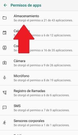 Permisos de almacenamiento en apps