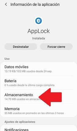 almacenamiento de una app