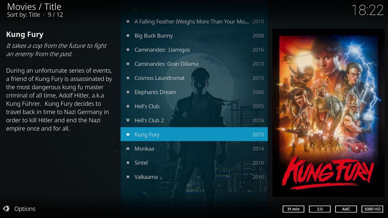Películas disponibles en Kodi