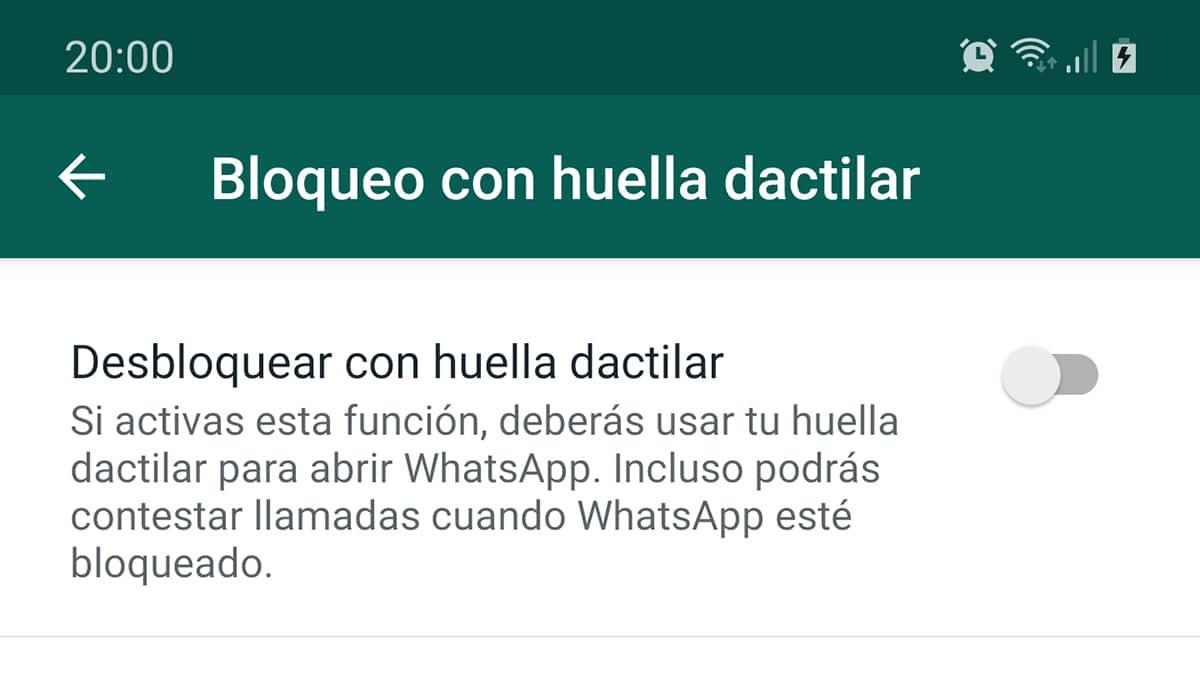 Proteger WhatsApp con huella dactilar