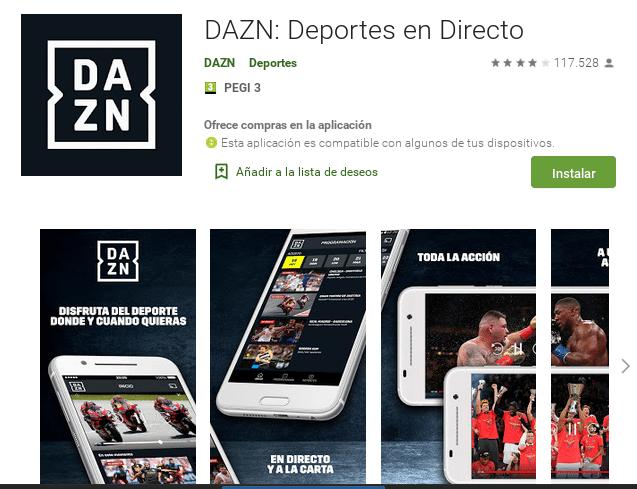 DAZN Descargar Play Store