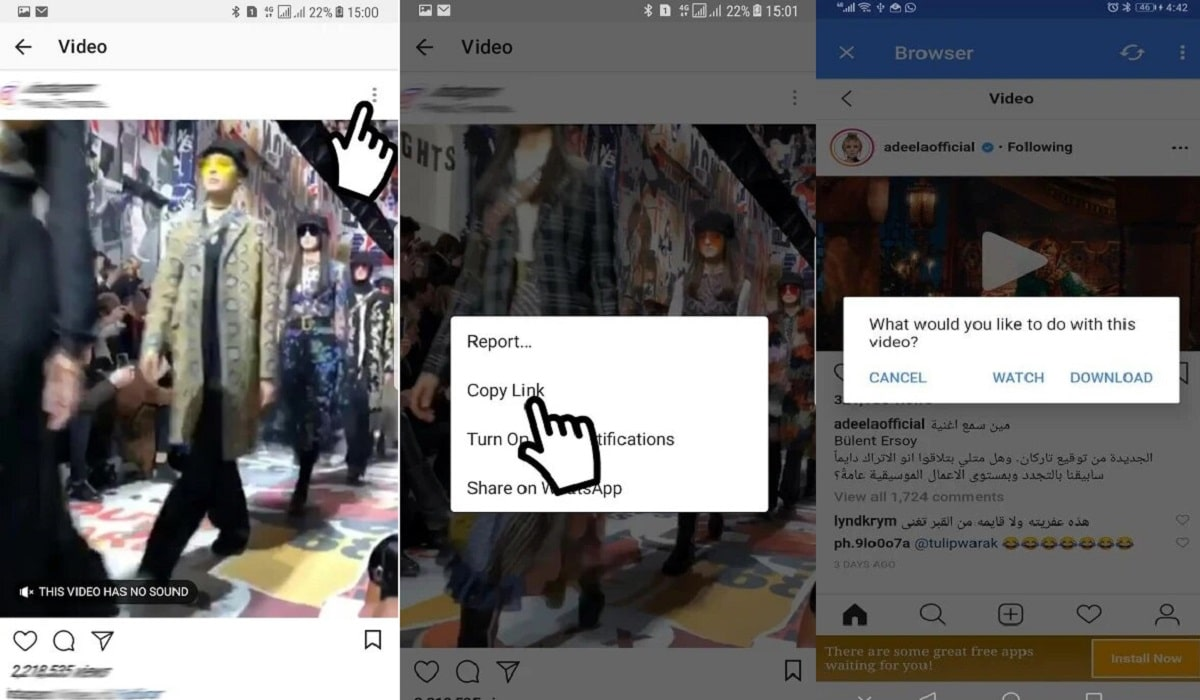 Interfaz de Vídeo Downloader for Instagram