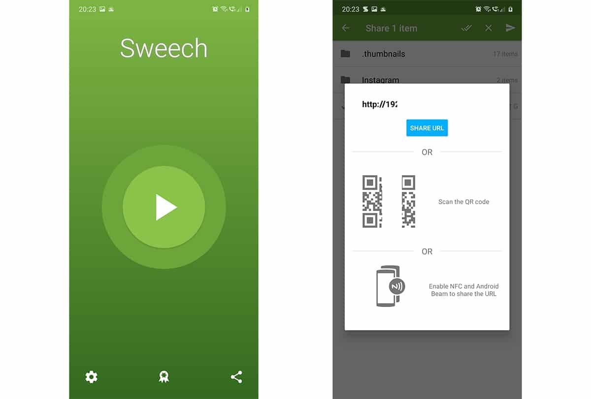 Sweech, para transferir archivos en Android