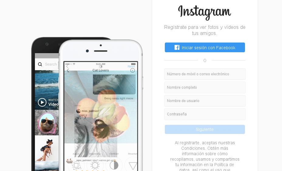 Usuario Instagram desde PC
