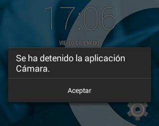Error Se ha detenido la aplicación