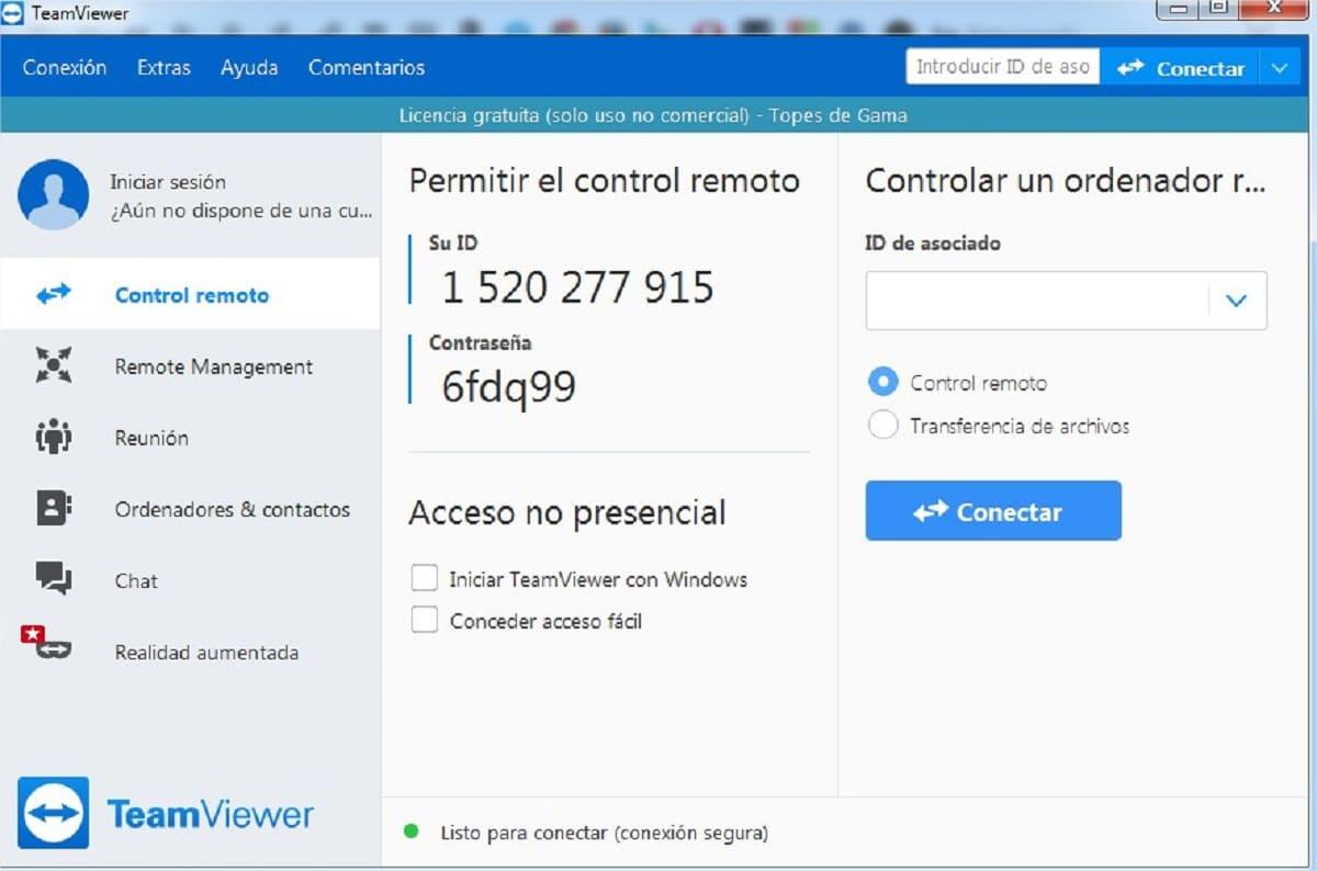 Panel de control de TeamViewer para control remoto