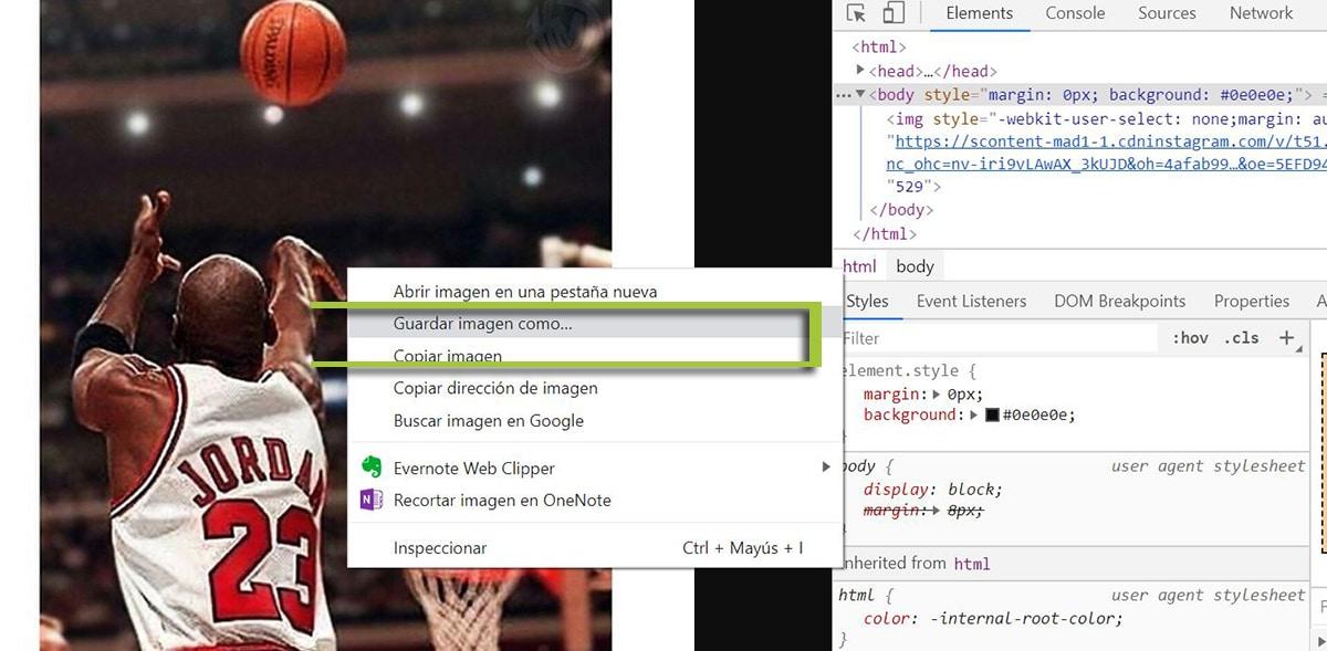 Guardar imagen de Instagram desde Google Chrome