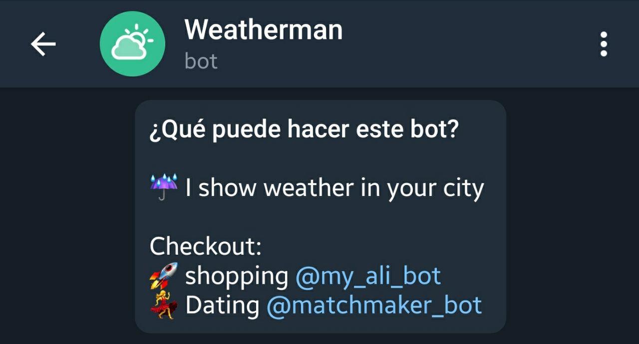 El tiempo en Telegram con el bot Weatherman