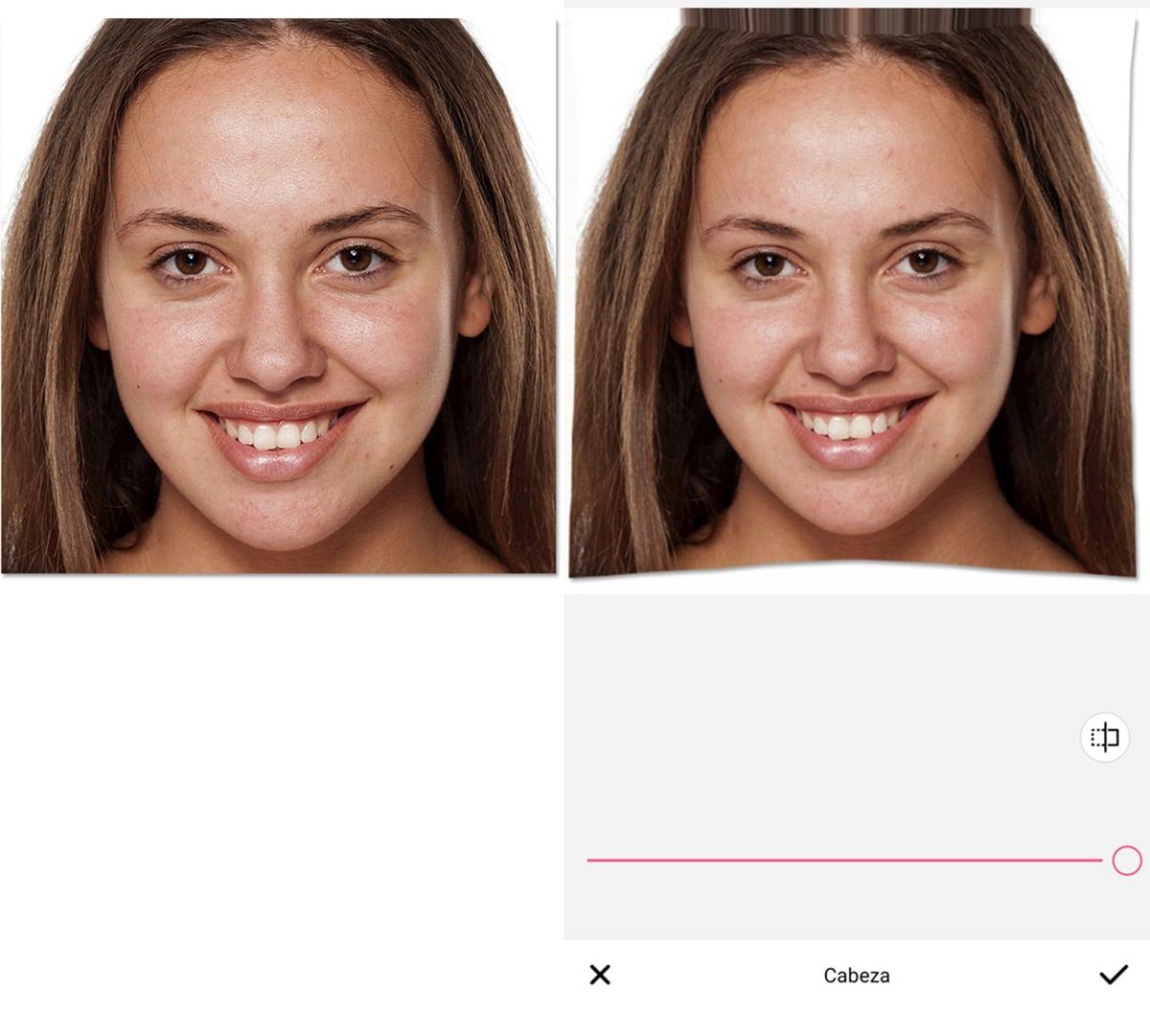 Retoque cabeza BeautyPlus