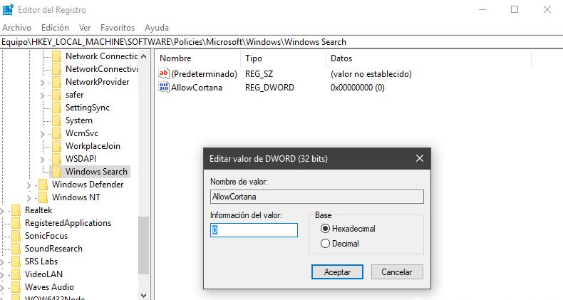 Crear carpeta Allow Cortana para poder desactivarlo