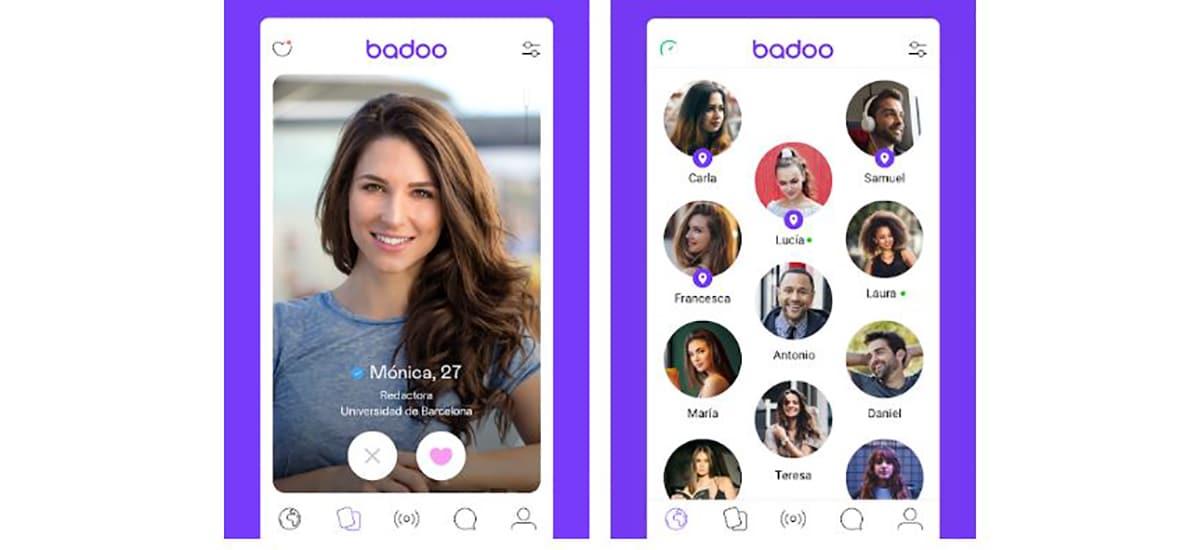 Interfaz app de Badoo