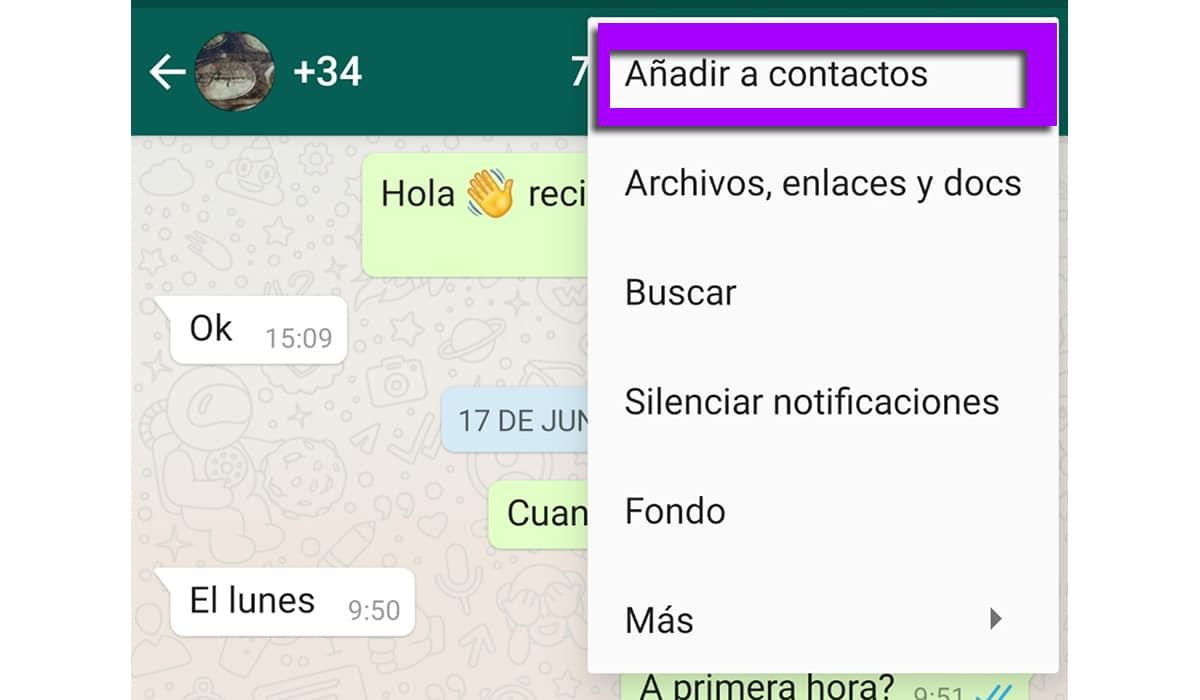 Añadir contacto desconocido a WhatsApp