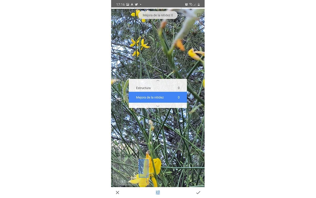 Mejorar nitidez en Snapseed