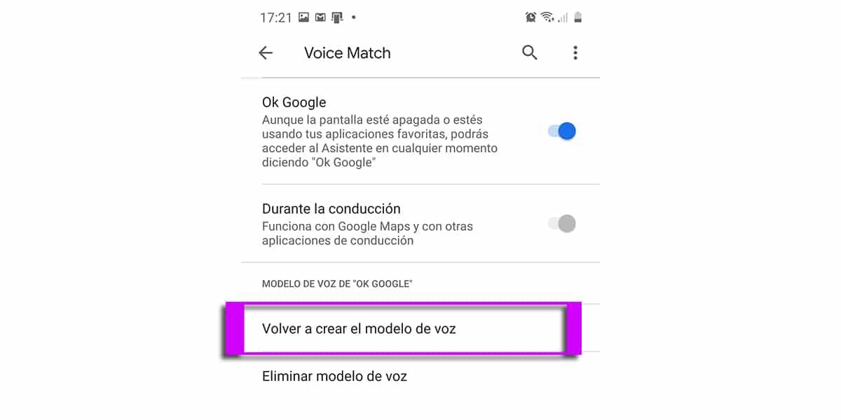 Volver a crear el modelo de voz para Ok Google