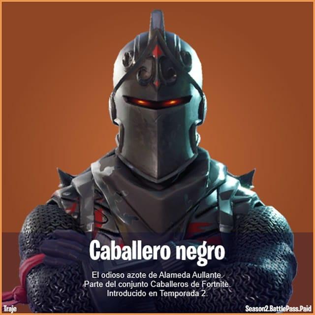 Una de las primeras skins de Fornite: Caballero negro