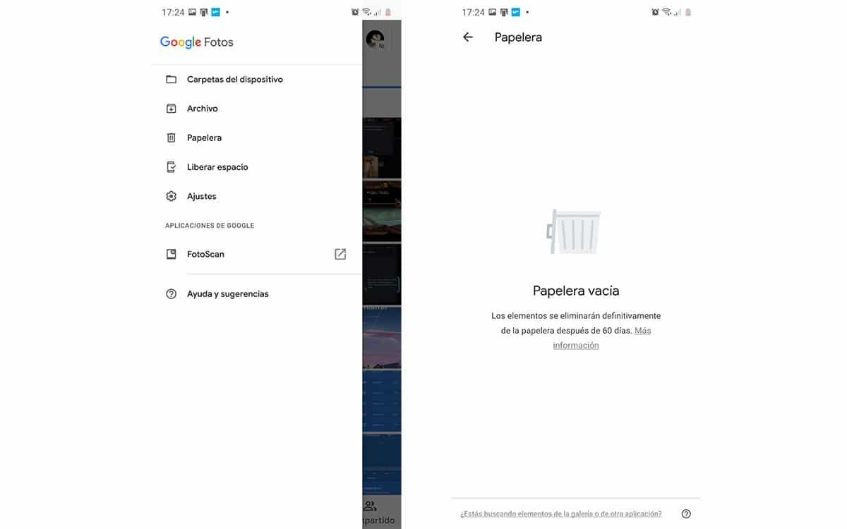 Papelera en Google Fotos