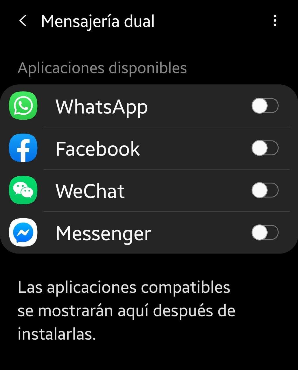 Aplicaciones duales en Samsung