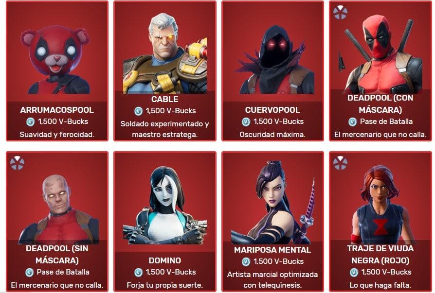 Diferentes Skins de Marvel