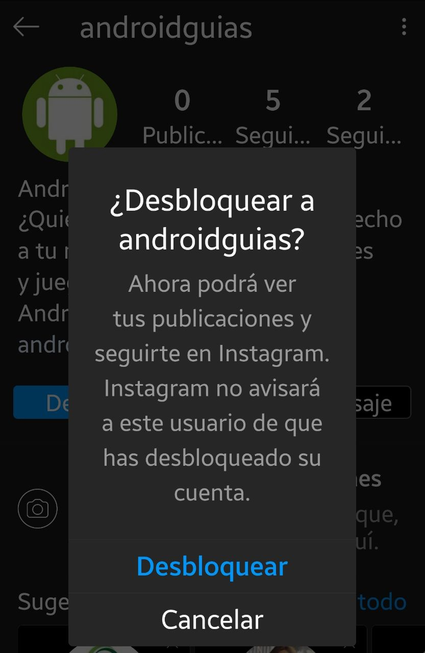 Desbloquear en Instagram