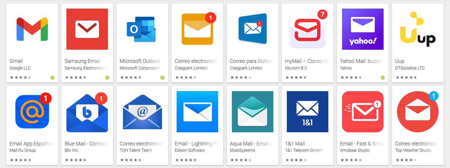 Aplicaciones de email para el móvil Android