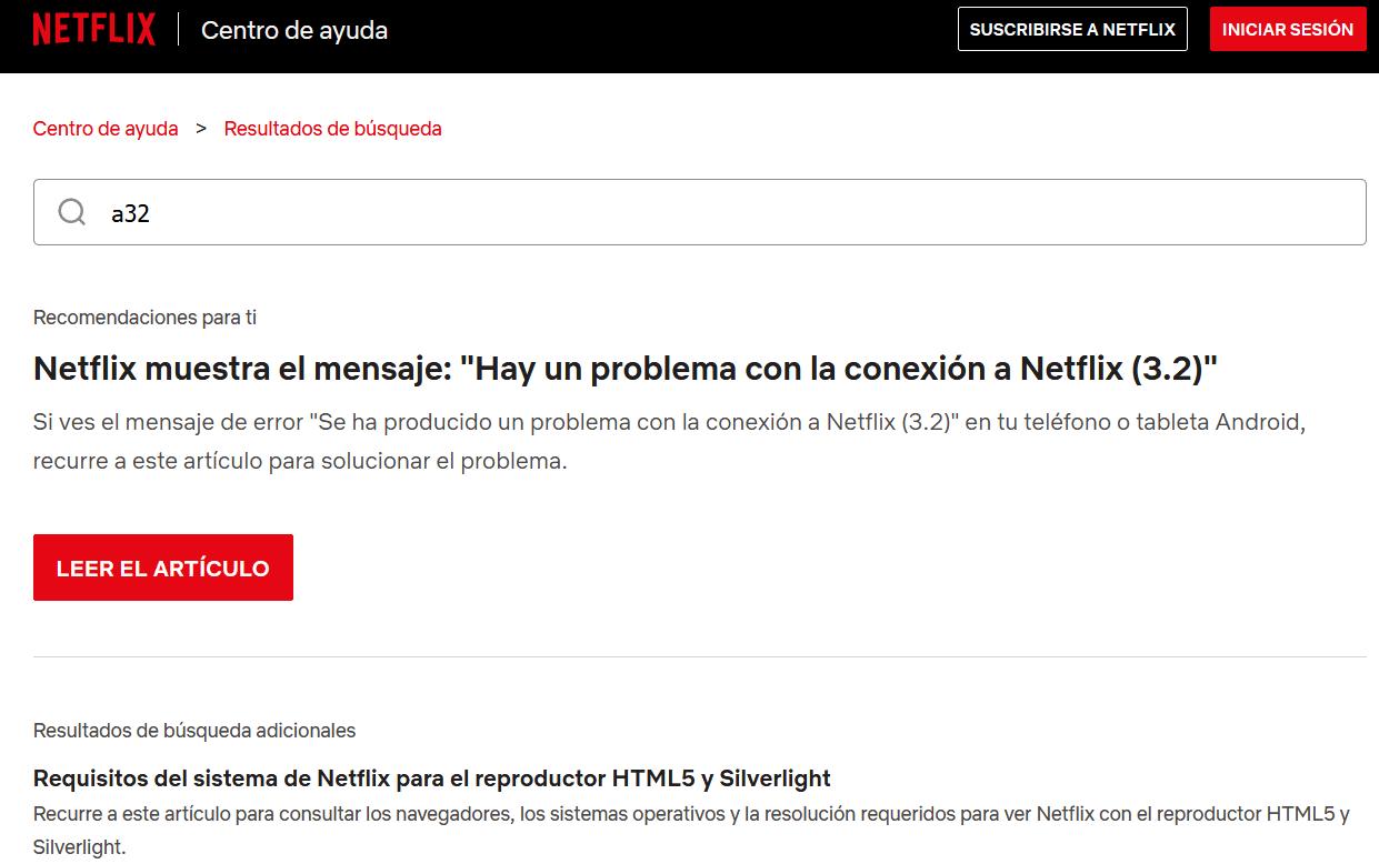 Códigos de errores Netflix