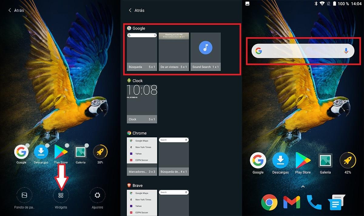 Widget para buscar en Google en Android
