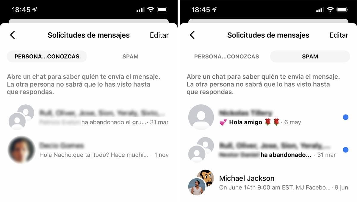 Conversaciones ignoaradas en Messenger