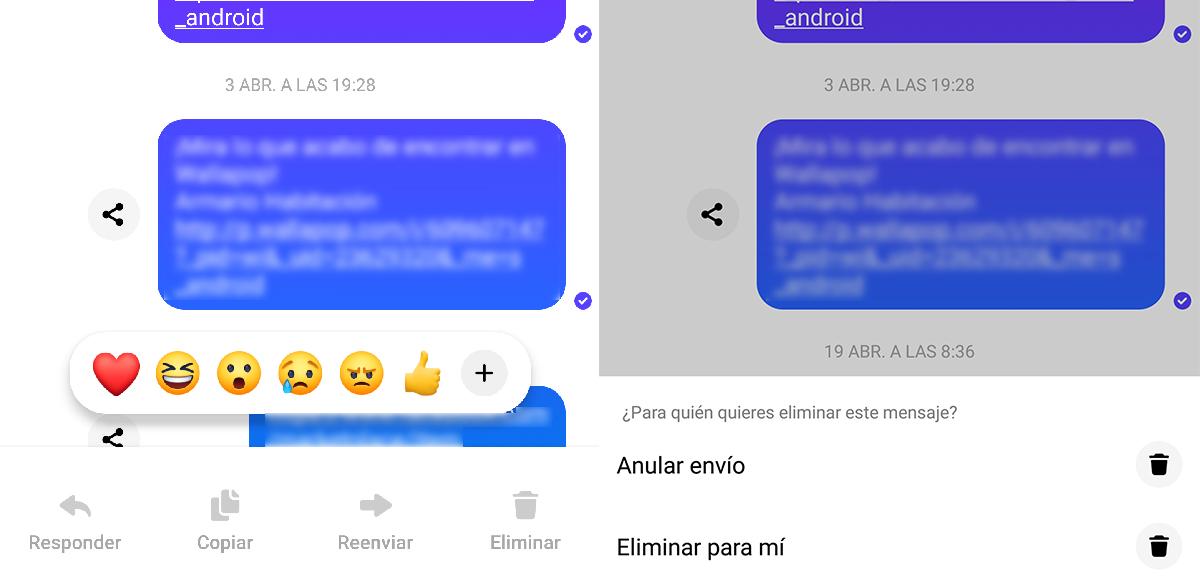eliminar mensajes en Messenger