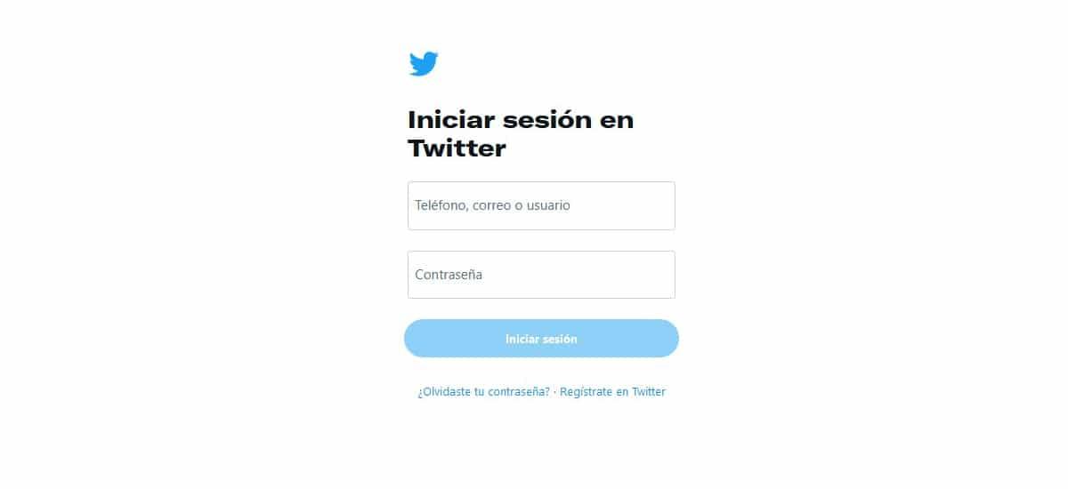Iniciar sesión Twitter