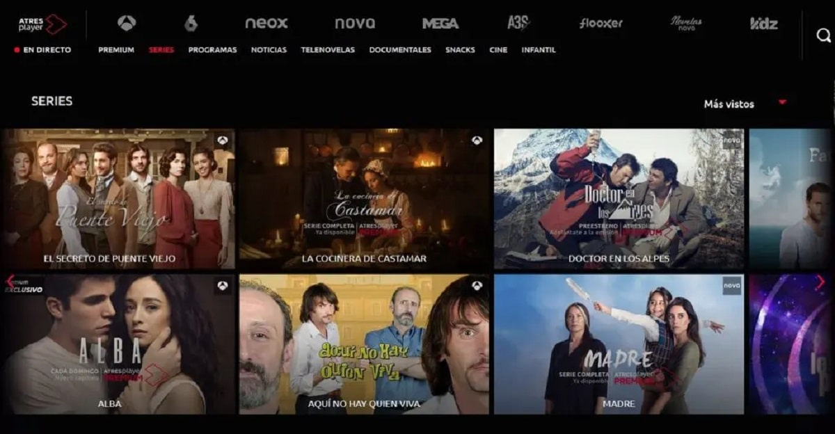 Antena 3, La Sexta, Neox, Nova, Mega y Atresseries