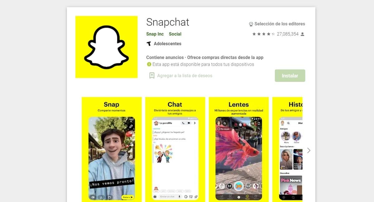 Snapchat Play Store